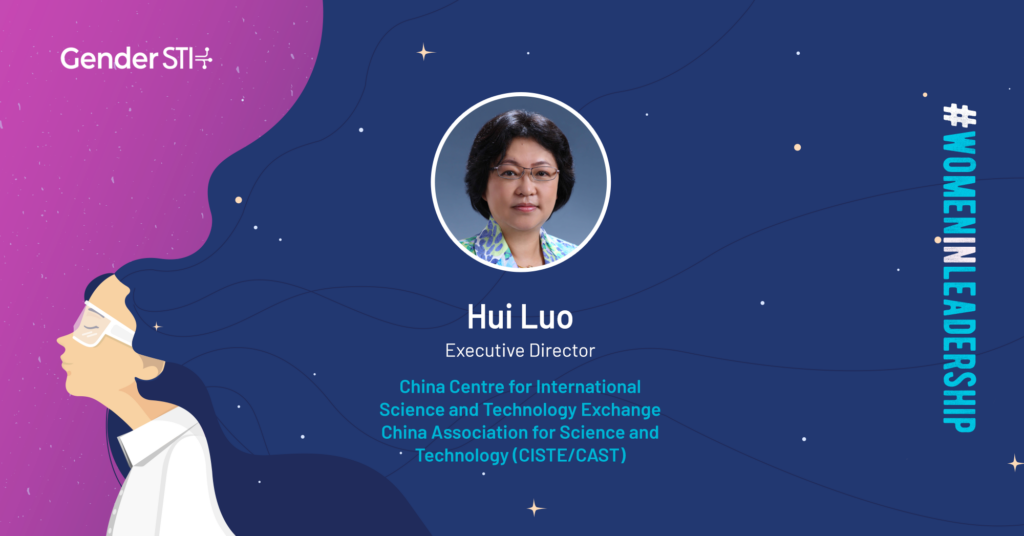 Hui Luo, Gender STI's #WomenInLeadership nominee from the China Centre for International Science and Technology Exchange.