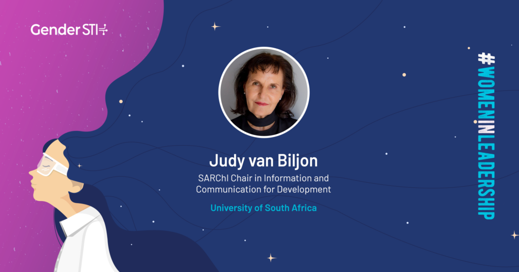 Judy van Biljon, the SARChI Chair in Information and Communication for Development (ICT4D), is one of Gender STI's #WomenInLeadership nominees.